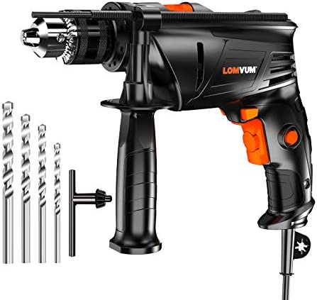 Hammer Drill, LOMVUM 1 2 In. 6.75 Amp Variable Speed dual-mode Impact Drill with 4 Drill Bit Set, 3000RPM, 360 Auxiliary Handle and Depth Gauge for Applying to Concrete, Brick, Masonry, Wood, or Steel