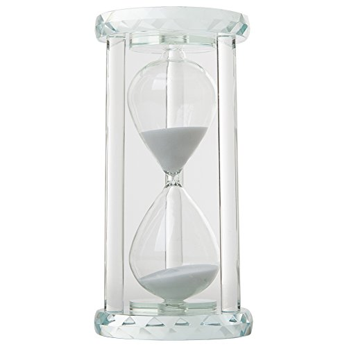 IFOLAINA Crystal Hourglass Round Multi-faceted Base Pure White Column White Sand Timer Multiple Time Available (Crystal White Faceted)