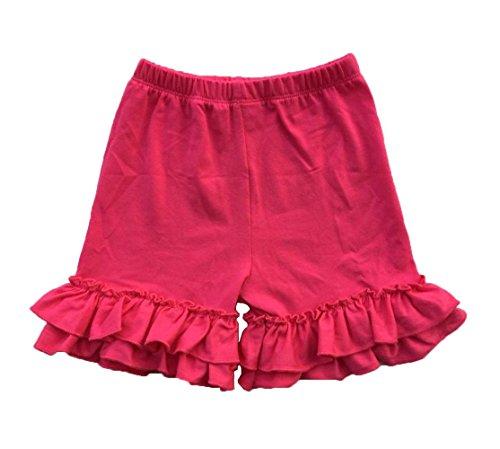 Coralup Baby & Little Girls Ruffles Cotton Shorts P6080_Hot Pink(XXXXL,7-8Y) ()