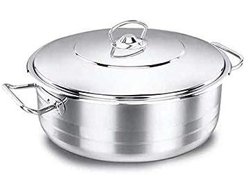 Korkmaz Astra Casserole Olla Utensilios Cocina Plano Compatible con Inducción Plata 24cm Acero Inoxidable A1904: Amazon.es: Hogar