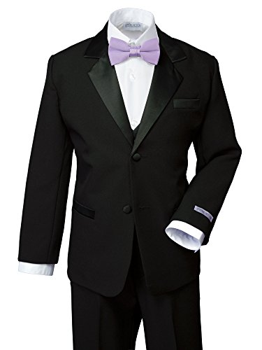 Spring Notion Boys' Classic Fit Tuxedo Set, No Tail 7 Black-Lilac