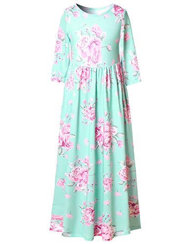Long Dresses 3/4 Sleeve Floral Maxi Dresses for Young Girls]()