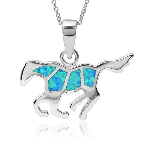 - Beaux Bijoux Sterling Silver Created Blue Opal Flat Horse Pendant with Chain