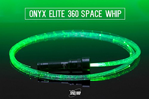 GloFX LED Fiber Optic Space Whip w/ 360 Flow Bearing & Sparkle Glow Rave Lace