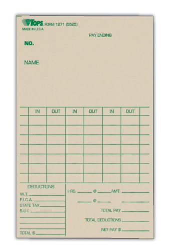 TOPS Time Cards, Weekly, 1-Sided, 3-3/8