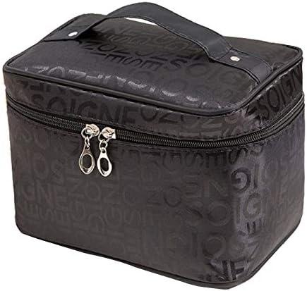 YouNITE 特大サイズの女性化粧品袋レタービッグ容量多機能トラベルトイレタリーバッグジッパー美容メイクアップバッグ (Color : Black, Size : Extra Large Size)