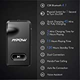 Mpow Bluetooth Adapter with 1 Second Turn On/Off Button, Bluetooth Receiver for 15 Hours Hands-Free Calls and Hi-Fi Music, Quick Charging Bluetooth Aux Adapter(CSR 4.1, Dual Link, Voice Assistant)