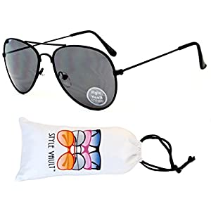 Kd202-vp Style Vault Kids Child(2~9yr Old) Aviator Sunglasses (B3099F Black-Dark lens)