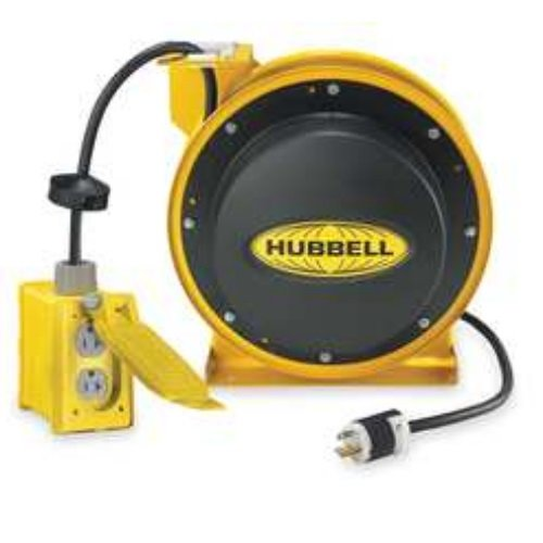 Hubbell Wiring Systems HBL45123TL20 Industrial Power Cord Reel with Twist-Lock Connector, 45' Cable Length, 12/3 SJEO Cable Type, L5-20R NEMA Style, 20 Amp, 125VAC, Black/White by Hubbell Wiring Systems