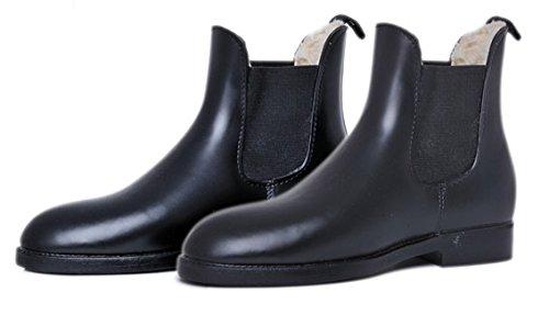 HKM Jodhpur botas de goma blanda/mucho con forro de peluche - negro