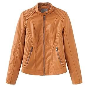 Yshaobinggva Women's Leather Jacket Slim Leather Jacket Retro Motorcycle Leather Jacket Stand Collar Short Leather Jacket (Color : Yellow, Size : XL)