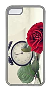 iPhone 5C Case, Customized Protective Soft TPU Clear Case for iphone 5C - Red Rose Cover