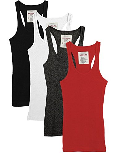 Zenana Outfitters 4 Pack Womens Basic Ribbed Racerback Tank Top BLACK/WHITE/RED/CHARCOAL S (Knit Top Tank Ribbed)