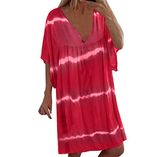 Sunhusing Ladies Gradient Tie-Dyed Stripe Print V-Neck Short Sleeve Loose Large Size Pullover Dress Pink