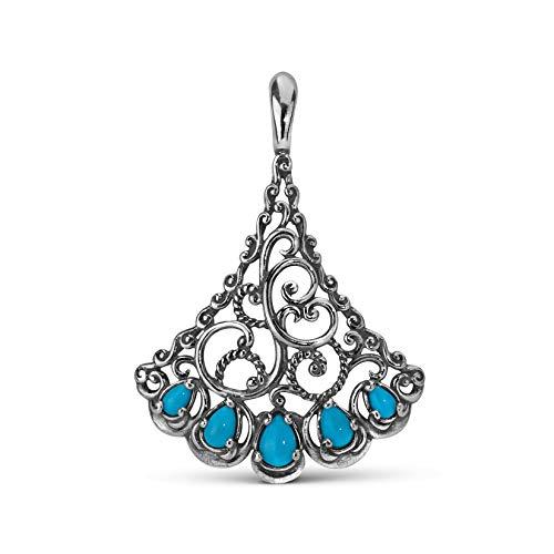 Carolyn Pollack Sterling Silver Sleeping Beauty Turquoise Gemstone Filigree Fan Pendant Enhancer