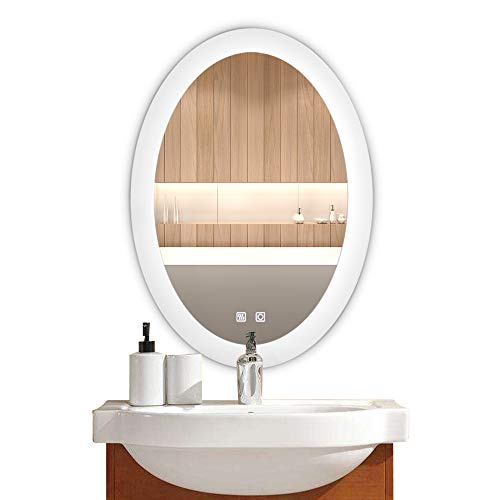 Bonnlo Dimmable Oval LED Lighted Bathroom Mirror LED Backlit Wall Mirror with -