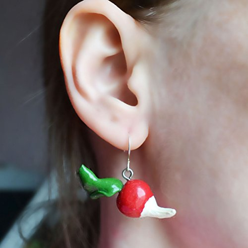 Radish Earrings Luna Lovegood Radish Red Earrings Vegetable Earrings Food Earrings Miniature Jewelry Miniature Food Jewelry, Birthday - Radish Luna Earrings