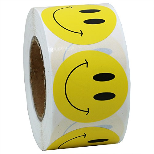 "Hybsk Yellow Smiley Face Happy Stickers 1.5"" Round Circle Teacher Labels 500 Total Per Roll"