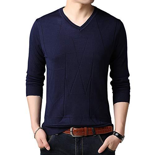 over Slim Pull Longues Bleu Laine Sweater Marine Fit Uni Manches Homme D'automne Tricot Pull D'hiver wqpBq1rX