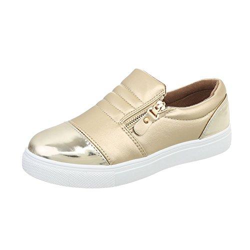 Ital-Design Sneakers Low Damenschuhe Freizeitschuhe Gold D20