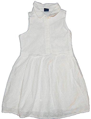 GAP Kids Girls White Floral Eyelet Shirt Dress XS 4 5