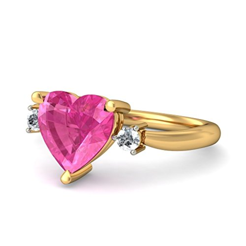 14K Or jaune, 0,06carat Diamant Blanc (IJ | SI) Tourmaline Rose et diamant Bague