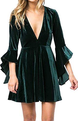 Inorin Womens Velvet Skater Dress Deep V Neck Bell Sleeve Sexy Swing Dress Party Gown Green