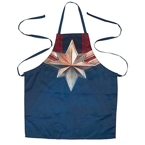 Marvel Captain Marvel Uniform Adult Apron With Adjustable Straps - Superhero Blue With Iconic Gold Star & Red Stripes - One Size Fits Most - Super For Any Avenger Fan Who Bakes, Barbecues Or Grills