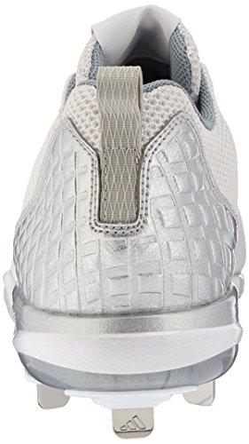 adidas Herren PowerAlley 5 Baseballschuh Ftwr Weiß, Silber Met., Hellgrau