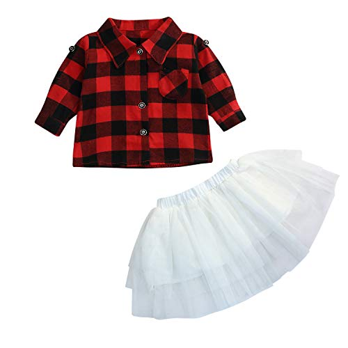 Happy Town Toddler Baby Girls 2Pcs Dress Set Button Down Plaid Flannel T-Shirt + Sweet Tutu Skirt (Red Plaid, 18-24 Months) -