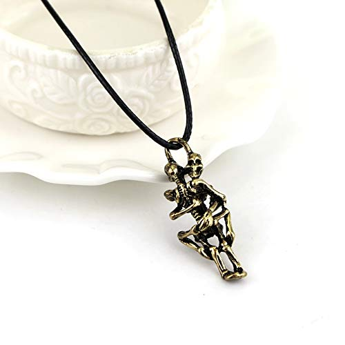 FITIONS - Punk Skull Hug Pendants Necklace Men Boys Jewelry Metal Alloy Necklaces Cool Silver Bronze Necklace Rope Chain