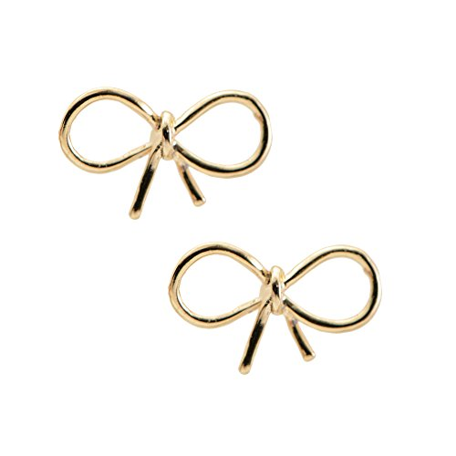 Spinningdaisy Handmade High Gloss Tiny Bow Earrings Gold ()