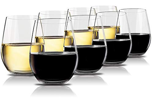 Plastic Bar Glasses Wholesale (Vivocci Unbreakable Plastic Stemless Wine Glasses 20 oz | 100% Tritan Heavy Base | Shatterproof Glassware | Ideal For Cocktails & Scotch | Perfect For Homes & Bars | Dishwasher)