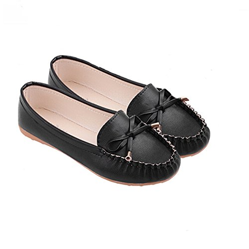 ANDAY Women's Comfortable Round Toe Soft Sole Loafers Flats Doug Shoes With Bow Black xApa25