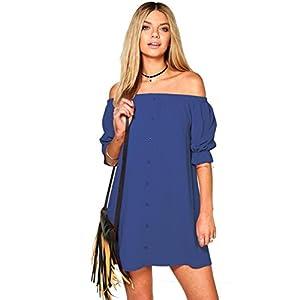 NOMENI Women Casual Button Off Shoulder Short Mini Dress