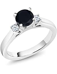 1.76 Ct Black Zirconia White Created Sapphire 925 Sterling Silver 3-Stone Ring