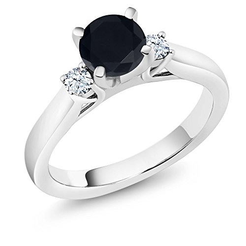 Sapphire Blue Celtic Ring (1.76 Ct Black Zirconia White Created Sapphire 925 Sterling Silver 3-Stone Ring)