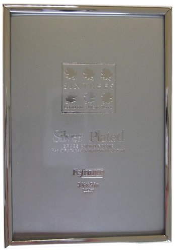 Silver Rim Picture Frame - SIXTREES 2-400-35 3.5 x 5-inch Cambridge Narrow Rim Solid Brass Silver Plated Photo Frame