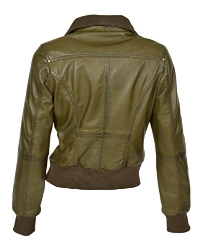 de dise cremallera con moda Cazadora de de verde o Chaqueta de de oliva aviador Fit Cameron abrigo cuero Slim de Epq1n7fq