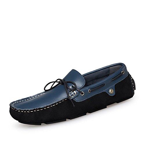 Casuales Cordones con Respirables Hombres Azul de Cuero Zapatos de Zapatos para Primavera vq4Odw