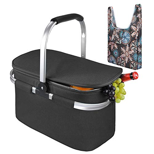 (Tirrinia Large Insulated Picnic Basket, 26L Leakproof Collapsible Portable Cooler Basket Set with Aluminium Handle for Travel, Shopping, Camping, Attach with a Free Foldable Grocery Bag, Black)