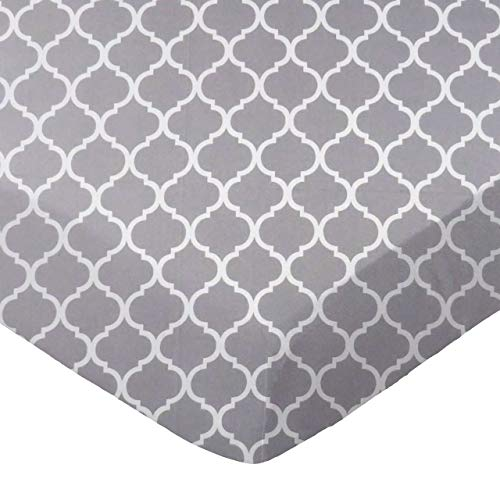 (SheetWorld Fitted 100% Cotton Percale Cradle Sheet 18 x 36, Grey Large Quatrefoil, Made in USA)