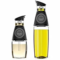 Blümwares Oil & Vinegar Dispenser Set with Drip-Free Spouts | 2 Pack Includes 500ml and 250ml…