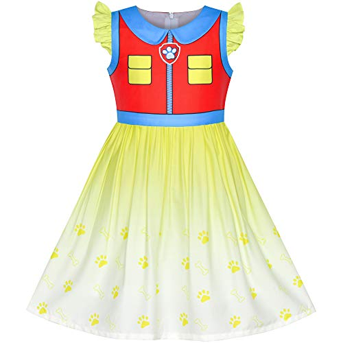 Girls Dress Paw Ryder Halloween Cosplay Patrol Party Size 5 Red]()