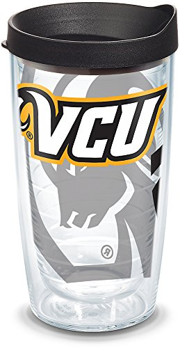 Tervis 1289622 VCU Rams Insulated Tumbler with Wrap and Black Lid, 16oz, Clear ()