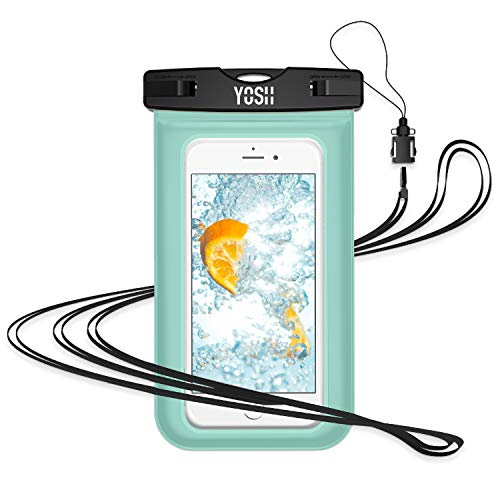 "YOSH Waterproof Phone Pouch Waterproof Case Cell phone Dry Bag Underwater Pouch with Neck Strap Compatible with iPhone Xs/X/8/7/6/6S Plus Galaxy S9/S8/S7 Edge/Note 5 Google Pixel 2 up to 6.0"" (Green)"