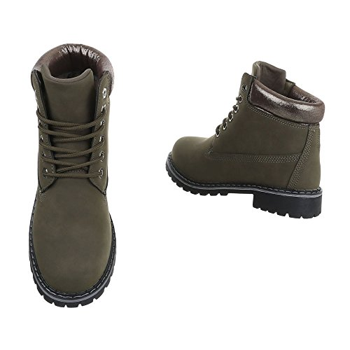 Zapatos para mujer Botas Tacón ancho Botines de cordones Ital-Design Olive