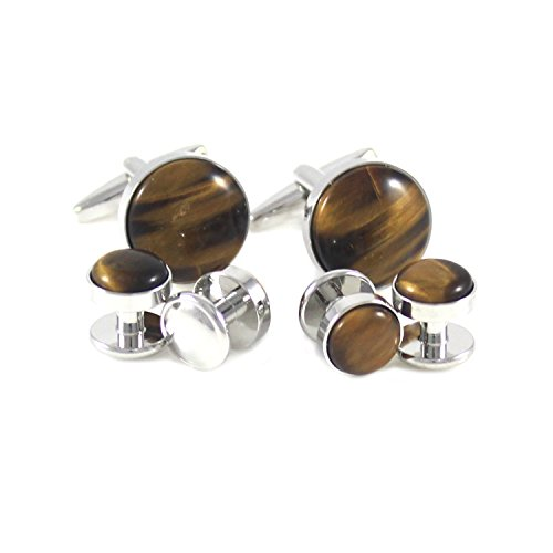 (MENDEPOT Classic Silver Tone Round Brown Stone Cuff Link and Shirt Studs Formal Wear Set with Box)