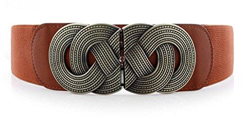 Retro Wide Metal Interlock Buckle Womens Elastic Waist Belt Cinch