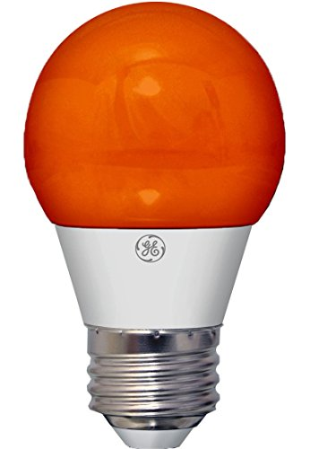 GE Lighting 23054 3-Watt LED 45-Lumen Party Light Bulb with Medium Base, Orange, 1-Pack -